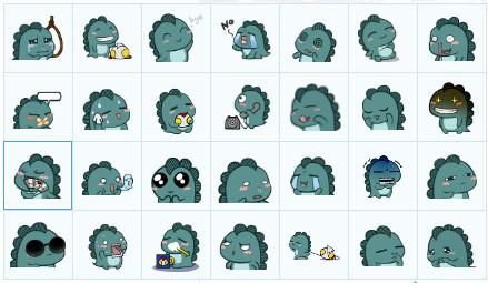 小表情QQ表情1.0表情免费版-QQ动态鼻涕绿色淌怪兽包图片