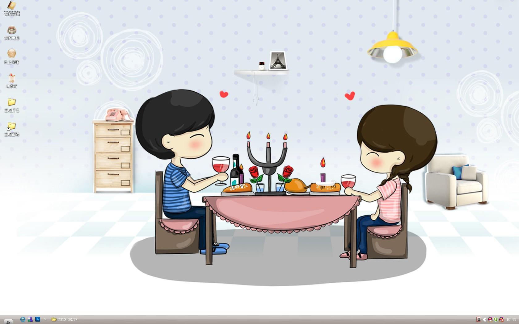(浪漫桌面主题壁纸) 免费下载  小希和阿树桌是一对可爱的小情侣哦