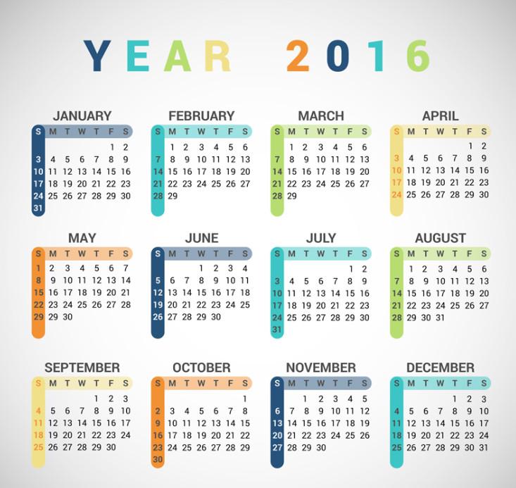 2016年彩色年历矢量素材ai格式高清打印版