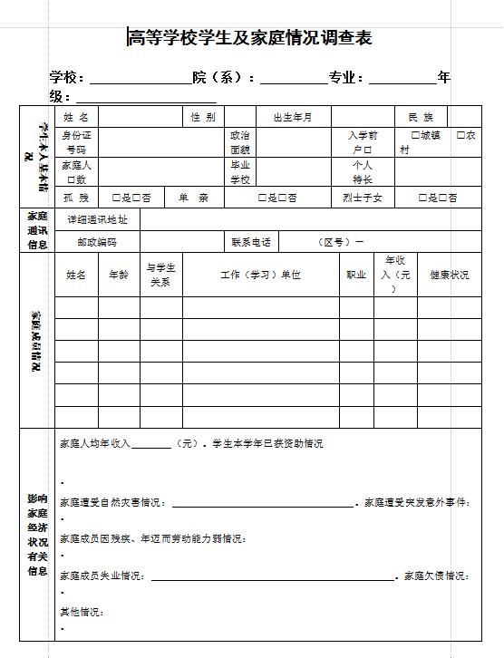 【大学生贫困申请表格式】