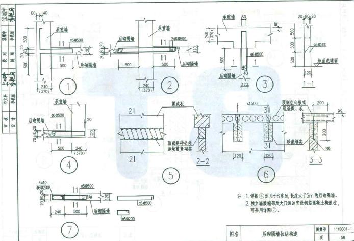11yg001-1砌体结构构造详图(多孔砖/普通砖)图集pdf格式【高清免费
