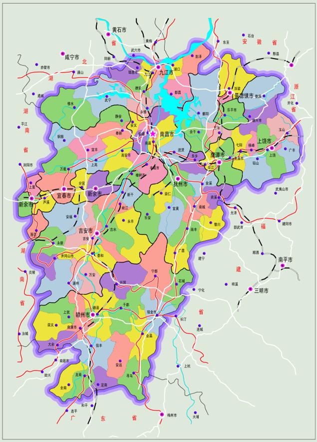 江西省地图全图psd格式高清版【内附jpg格式大图】