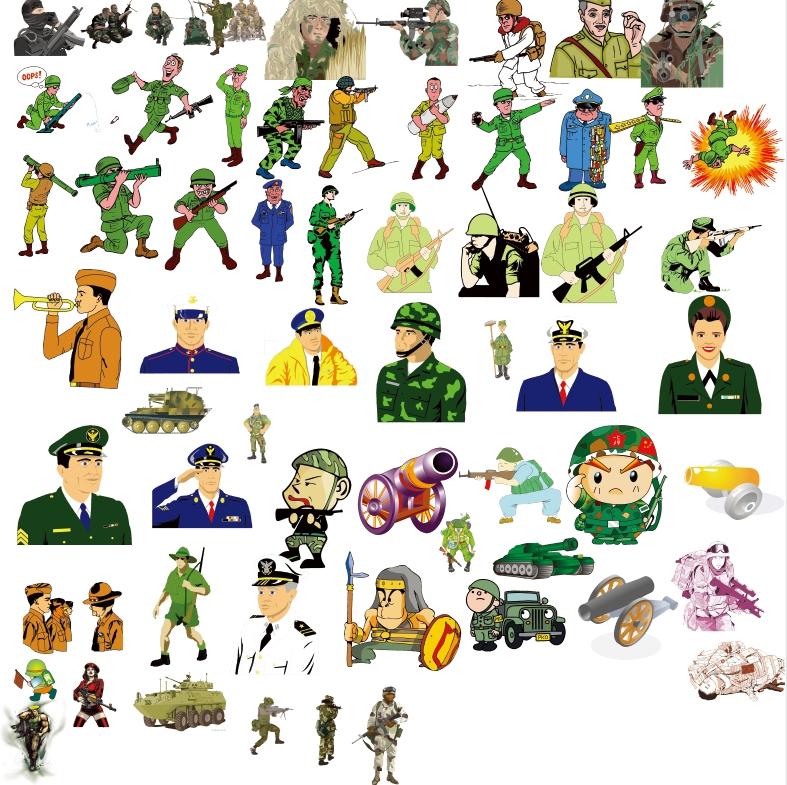 62款卡通军人psd图片素材【卡通人物】分层文件免费打包下载