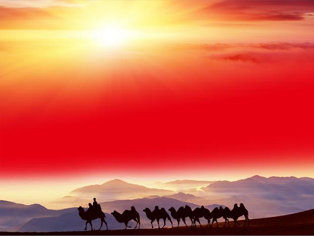 沙漠驼队ppt模板【沙漠之舟】免费下载图片