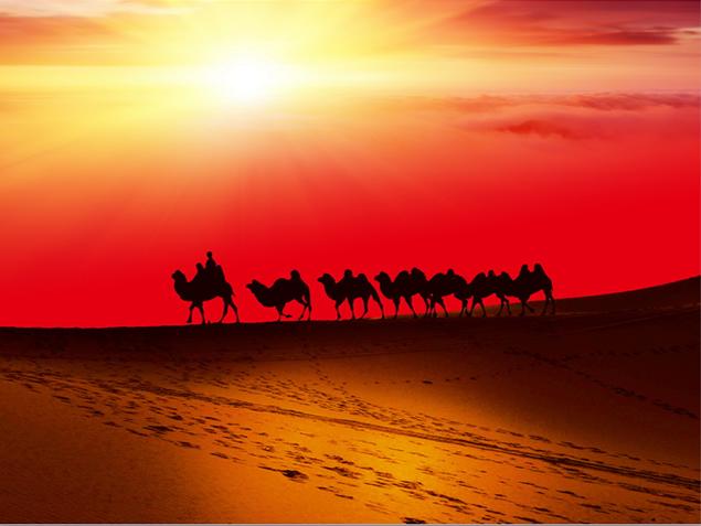 沙漠驼队ppt模板图片