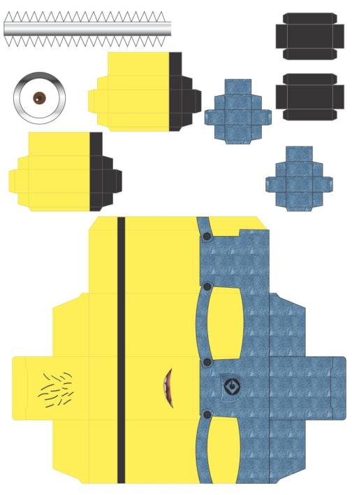 纸模图纸下载|小黄人纸模型图纸pdf图纸免费版山宝信润格式图片