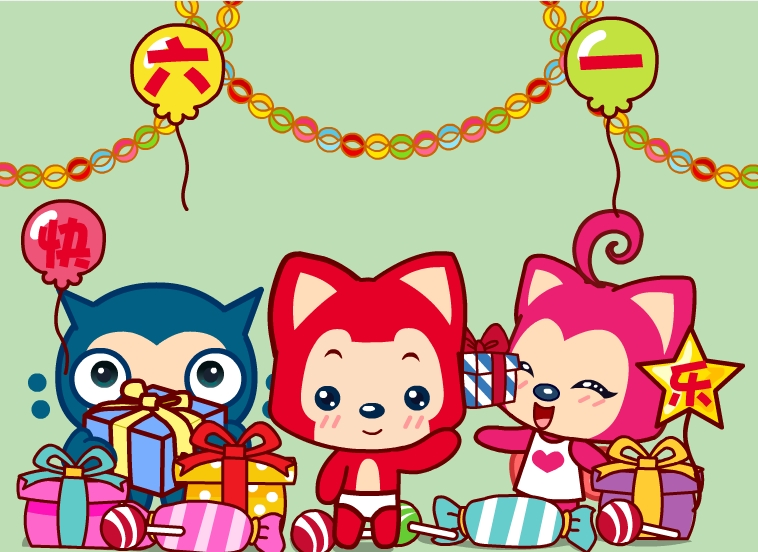 六一儿童节动画贺卡【阿狸图片】 flash源文件免费下载