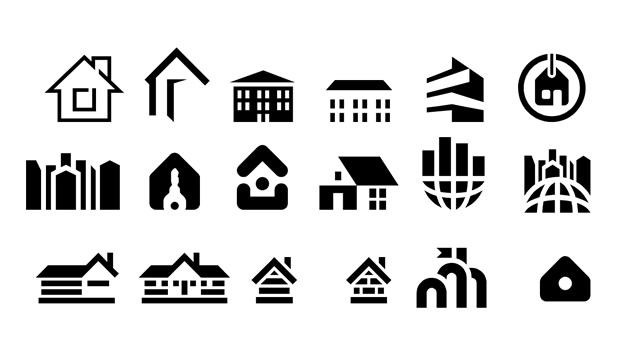 小房子图标ppt素材【黑白风格】免费下载