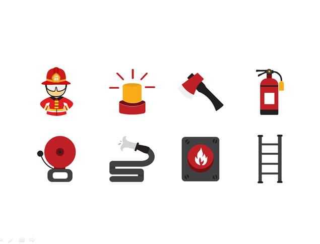 在制作消防安全的ppt中会使用到一些消防元素的图标素材,东坡小编在这里分享一份消防元素消防类矢量ppt图标素材,包含消防员,消防警报灯,消防斧,灭火器,碰头,铃声,梯子,报警按钮,消防面罩,高音喇叭,消防车,篝火等图标素材,点击下面的地址即可免费获取。