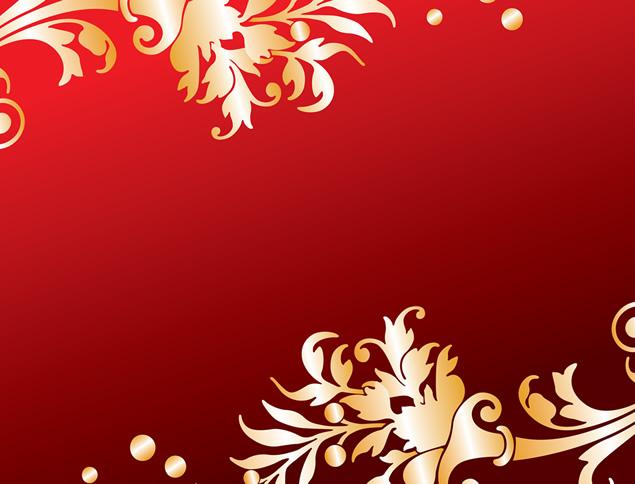 安卓背景图片素材_金色花边素材-20张漂亮喜庆金色花边花朵ppt素材【红色背景图片 ...
