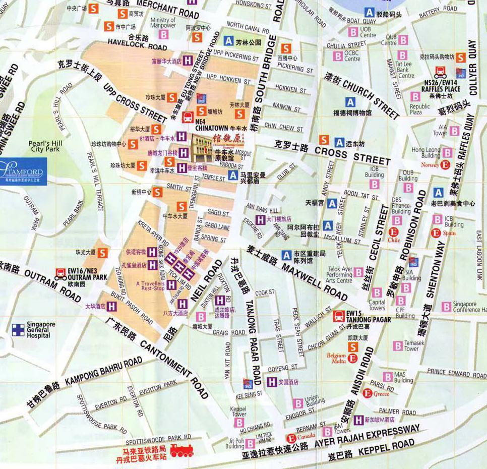 新加坡旅游地图中文版 曼谷旅游地图中文版