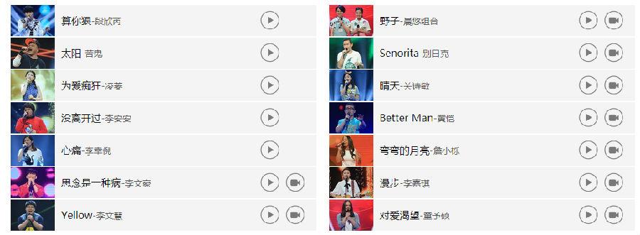 中国好声音第四期歌曲_