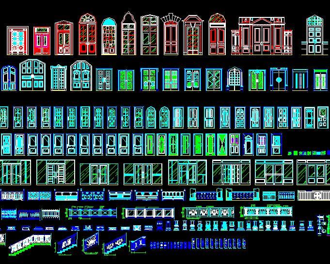 欧式建筑cad大全|欧式图纸及字体cad门窗栏杆cad在哪文件夹图纸图片
